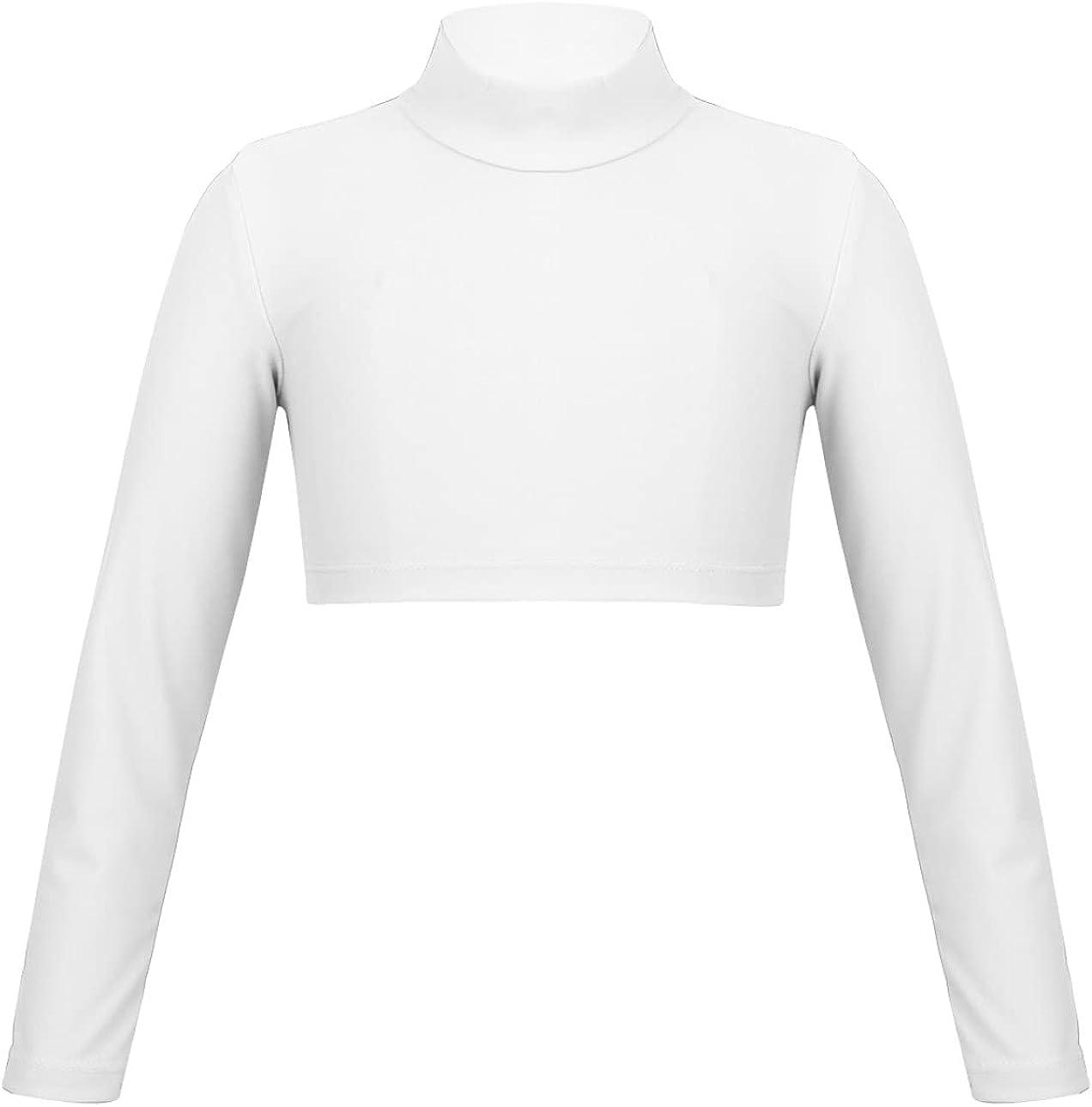 Yihuimin Girls Solid Mock Long Sleeve Crop Top Ballet Dance Shirts Gym Yoga Tight Sports T Shirts