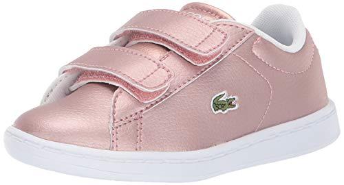 Lacoste Girl's Kid's Carnaby Sneaker, Pink/White, 4.5 Medium US Toddler