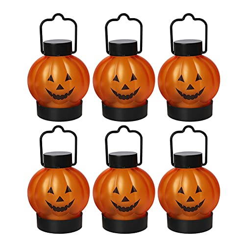 Fuaensm 6 pz LED Halloween zucca Skull Lanterna Lampada FAI DA TE Desktop Appeso Candela Luce Luminosa Festa Festa Decorazioni Casa, 2,