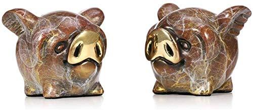 ZHIFENGLIU Accessoires décoratifs Sculpture 2 Petits cochons décoration coloré métal Laiton Artisanat Cadeaux Ornement Artisanat Bureau à Domicile Bureau Jardin