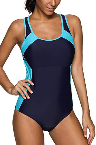 CharmLeaks Womans Athletic one Piece Bathing Suit Chlorine Resistant Swimwear Workout Swimsuits,Navy/Aqua,X-Large