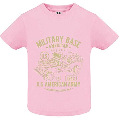 T-Shirt - American Army Jeep - Bébé Fille - Rose - 6mois