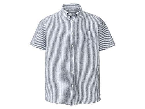 Livergy Freizeithemd Leinen Kurzarm mit Kragen ++Big Size++ Streifen/Blau/Weiß 4XL