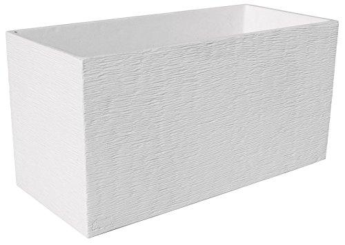 ARTESANÍA ROCA Maceta DE Piedra Muy Resistente con Fibras Especiales 90x27cm x 37 cm Altura.Maceta Futura (Blanco)