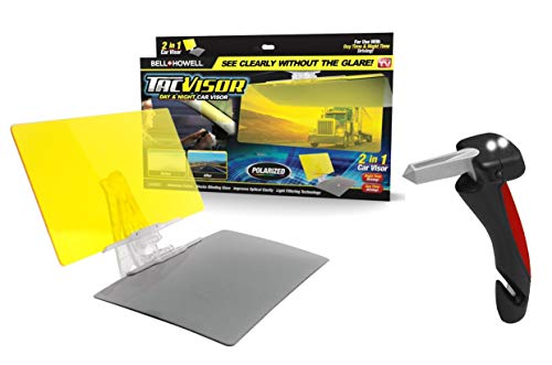 Bell + Howell TACVISOR + Car Cane Auto Handle, Anti-Glare and Polarized HD Sun Guard Anti-UV Windshield Includes All-in-One Portable Vehicle Support Grab Bar For Safe Driving As Seen On TV