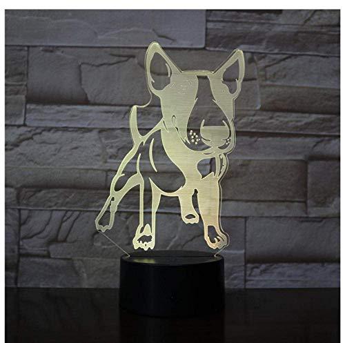 Illusion Bulldog Anglais, animal de compagnie Creative Nouvelle 3D USB Lampe de Table 7 Changement de Couleur LED Bébé Sommeil Nuit Lumière De Noël Cadeaux Chambre Chevet Décor Cadeau lampe