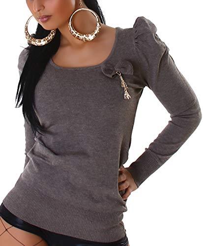 Jela London Damen Schleifen Longpulli Pullover Puff-Ärmel Rüschen Pullover Sweatshirt Longsleeve Rücken-Dekolleté Ausschnitt Stretch, Braun