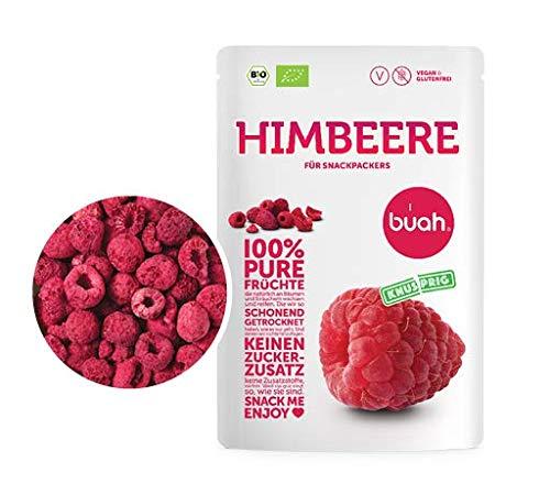 BUAH® Gefriergetrocknete Himbeeren BIO I Getrocknete Himbeeren ohne Zucker I 100% Gefriergetrocknet Früchte (Vegan Glutenfrei Laktosefrei) Getrocknete Früchte Snacks (70g) in DE hergestellt