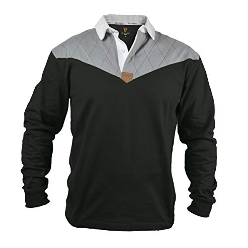Guinness Heritage Charcoal Grey and Black Long Sleeve Rugby Jersey (Medium)
