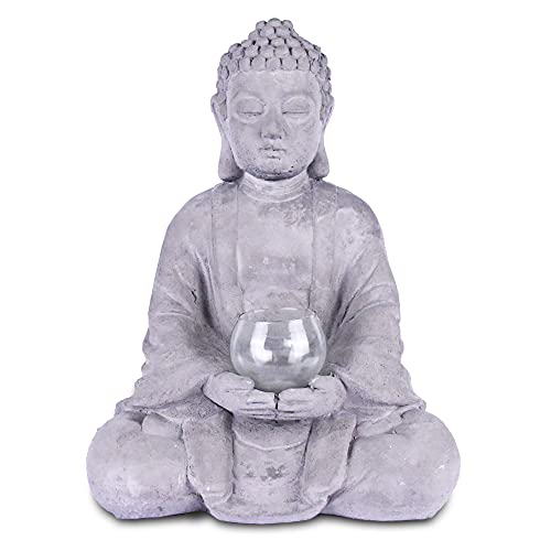 Kante SX20200179 Cement Composite Meditating Buddha Statue Tealight Candle Holder Ornament, Natural Concrete Indoor/Outdoor Tabletop Décor, 14.17' H, Gray