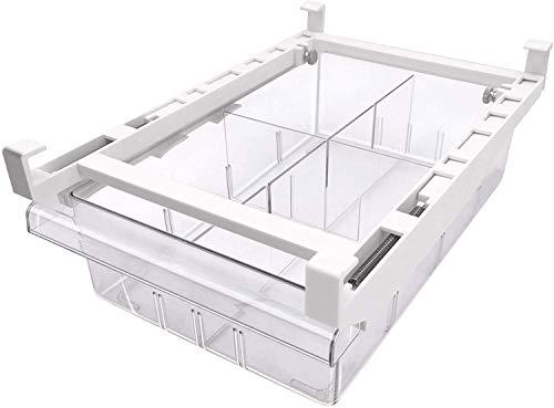 G-LIKE Kühlschrank Schublade Organizer Aufbewahrungsbox – Ausziehbare Box mit Griff Einstellbar für Kühlschrankregal Lebensmittel Getränke Ordnungssystem 4 Abteile – 30x20x9.5 cm (Durchsichtig)