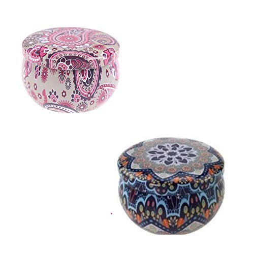 BTEX Aromatherapy Candle Scented with Flowers Handmade Scented Tin Can Fragrance Natural Soy Wax Home Decoration-as pic-