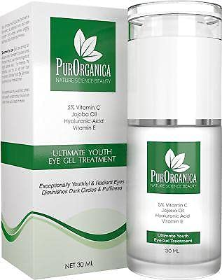 PurOrganica Eye Cream - Limited Edition - for Dark Circles, Puffiness, Eye Bags and Wrinkles – Double Sized 30ML - Organic Anti Ageing Cream with Vitamin C, Hyaluronic Acid, Jojoba Oil and Vitamin E from Purorganica