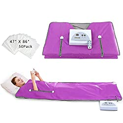 Sauna Blanket Far-Infrared(FIR) for Weight Loss with Remote Control Body Steamer Blanket Waterproof Heat Sauna Blanket Professional Detox Therapy Beauty Machine Slimming Fitness Anti Ageing. (Purple)