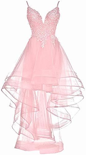 HUINI Abendkleid Lang Elegant Hochzeitskleid Abiball Ballkleid Unregelmässig Tüll Cocktailkleid Spitzen Ärmellos Rosa 32