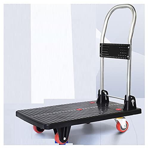 Chariot à 4 Roues Roues Caddie Pliable à Roulette Roue De Roulement Silencieux sans Installation Capacité Maximale De 200 Kg Taille: 68 * 41cm(Size:4 Rounds,Color:Le Noir)