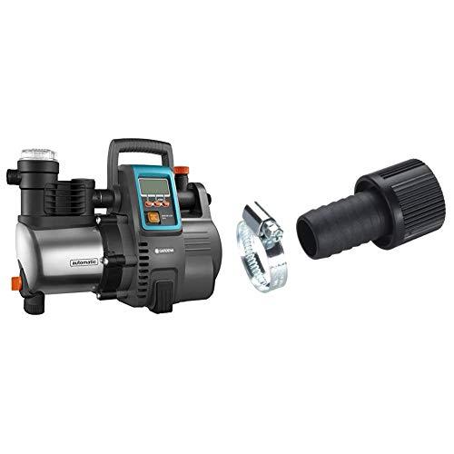Gardena Premium Hauswasserautomat 6000/6E LCD Inox: Hauswasserpumpe mit 6000 l/h Fördermenge, 1300 W Motor & Saugschlauch-Anschlussstück 25 mm (1 Zoll): Pumpen-Anschlussstück mit Schlauchklemme