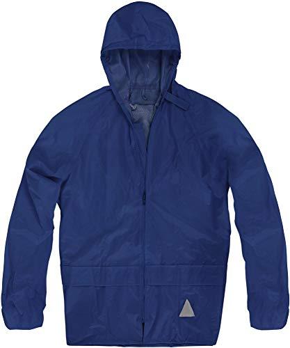 normani Unisex Regenjacke mit Kapuze 100% Wasserdicht - 100% Winddicht - Überziehjacke 5.000 mm Farbe Navy Größe 4XL