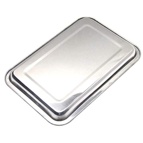 Cabilock 1 Pc 32x22cm Baking Pan Non Toxic Flat Rectangle Stainless Steel Serving Dish Tray Cookie Sheet for Oven