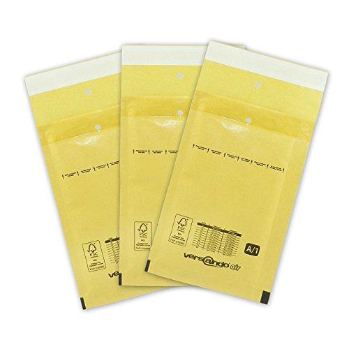 200 Luftpolster Versandtaschen A1 120 x 175 mm Außenmaß, braun/gold