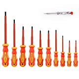Gunpla 11 Pieces VDE Insulated Screwdriver Set, 1000V with Black Tip Magnetic, TPR Handle Electrician Soft-Grip Slotted Phillips and Pozi Tools with Safety Tester for Electrician Repair