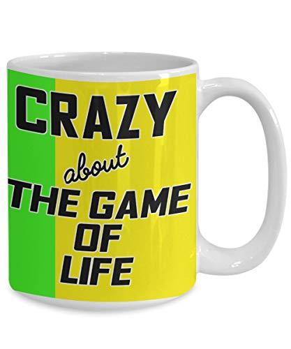 Ad4ssdu4 Vergekkt na het spel van het leven koffiemok, geschenk voor bordspel speler, fan winnaar grote 11 ounces keramiek theekop