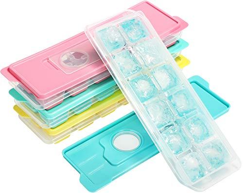 COM-FOUR® 4x ijsblokjesvorm voor in totaal 48 ijsblokjes - Kleurrijke ijsblokjescontainers met deksel - Veilig en zonder lekkage [selectie varieert] (04 stuks - met deksel)