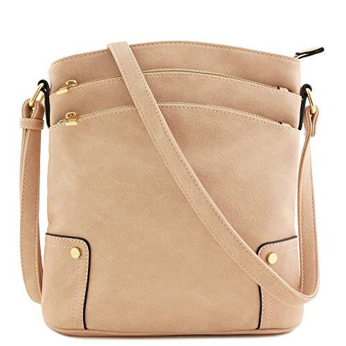 Triple Zip Pocket Large Crossbody Bag (Dusty Pink)
