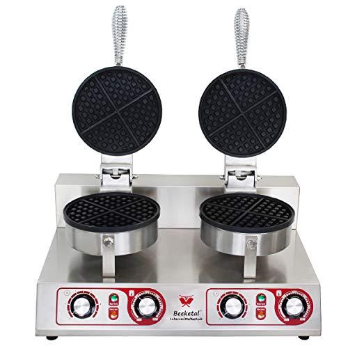 Beeketal 'BWA-2' Profi Gastro Doppel Waffeleisen mit antihaftbeschichteten Backplatten (2 x 4 geteilt rund), Waffelautomat für belgische Waffeln mit Edelstahl Gehäuse, 50-300 °C stufenlos