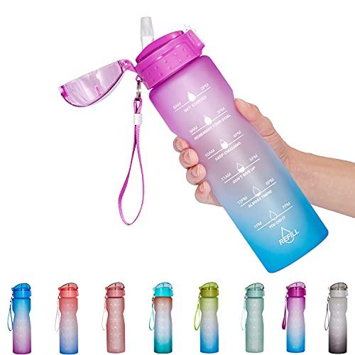 NOOFORMER Botella de agua motivacional con marcador de tiempo y pajita – Botellas de agua con tiempos para beber a prueba de fugas, sin BPA para correr de fitness (32 oz)