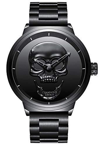 Hombre de cráneo creativo reloj Cool acero inoxidable grande dial Vintage Boy cuarzo reloj militar (Negro)