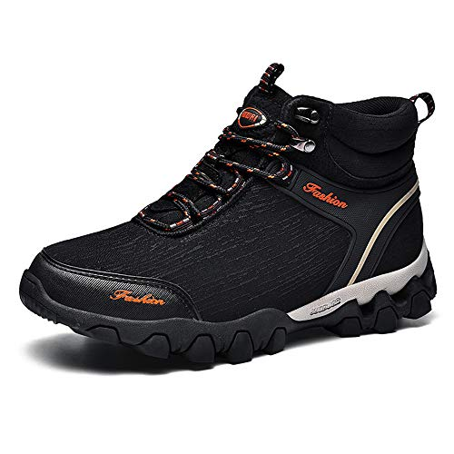 Govicta Premium Waterproof Work Boots for Men Men's Winter Hiking Ankle Boots Casual Trekking Lace-up Shoes Black Size 9