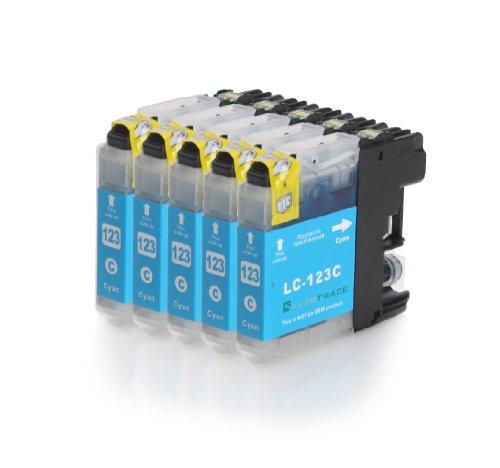 5x cyan XL Druckerpatronen (LC-121C/LC-123C) kompatibel zu BROTHER mit CHIP für Brother DCP-J752DW MFC-J870DW J6920 DW J4110 DW J4410 DW J4510 DW J4610 DW J4710 DW