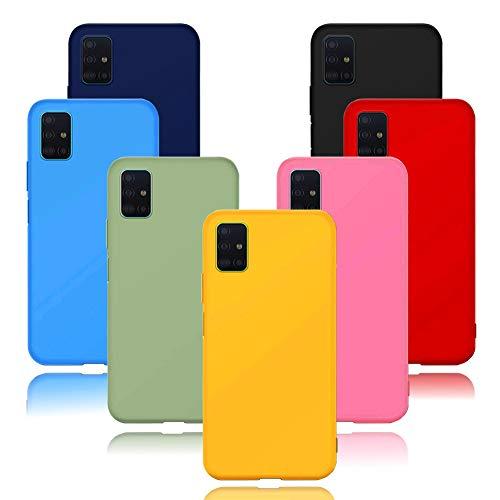 Funda para Xiaomi Mi 10 Lite / Xiaomi Mi 10 Youth, 7 Unidades Carcasas Ultra Fina Silicona TPU de Alta Resistencia y Flexibilidad Caso Colores (Negro+Rojo+Azul oscuro+Rosa+Lavanda+Amarillo+Verde)