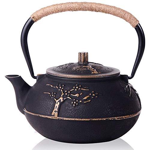 NGCSH Teekanne Gusseisen Teekanne Wasserkocher Mit Edelstahl-Tauchfilter Pflaume 30 Oz (900 Ml)