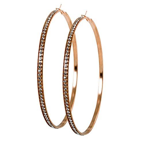 Geralin Gioielli Damen Ohrringe große Creolen Gold Strass 10cm Fashion Ohrhänger Vintage