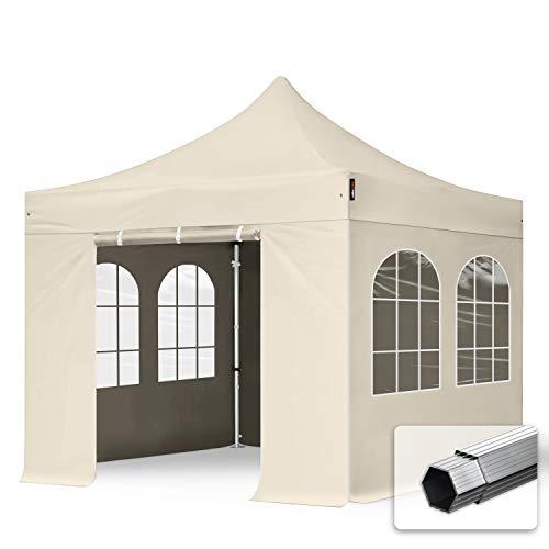 TOOLPORT Faltzelt Faltpavillon Professional 3x3 m mit 4 Seitenteilen - ALU Pavillon Partyzelt in Creme
