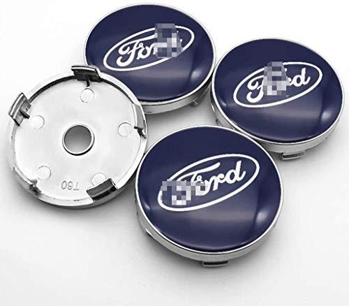 Cubierta de la insignia del eje del centro de la rueda del coche 4pcs, casquillo del eje de la rueda del logotipo de aluminio para Ford Mustang Explorer Fiesta Focus Kuga-60 mm