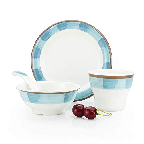 4 Piece Melamine Kitchen Dinnerware Set for Dinner Dishes Set for Camping Use, Lightweight Unbreakable and Dishwasher Safe, with1 * Dessert Plate, 1 * Cereal Bowl and 1 * Mug, 1 * Spoon (White)