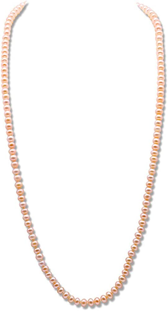JYX Pearl Necklace Near-Round Natural Pink Freshwater Pearl Long Sweater Necklace 32