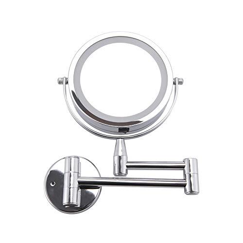 Casa Baño Giratorio Doble Cara Espejo Vanidad Pared con Luces Y Brazo Extensible, Espejo Tocador con Aumento 1X/3X, Redondo Salón Mirror