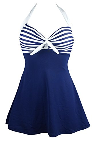 COCOSHIP White & Navy Blue Striped Vintage Sailor Pin Up Swimsuit One Piece Skirtini Cover Up Beachwear XXXL(US16)
