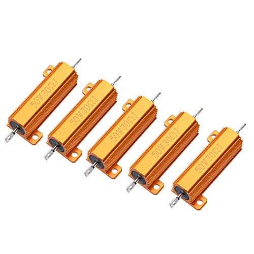 HLin 5Pcs 30 OHM 50W Aluminum Housed Wire Wound Resistor Gold Tone