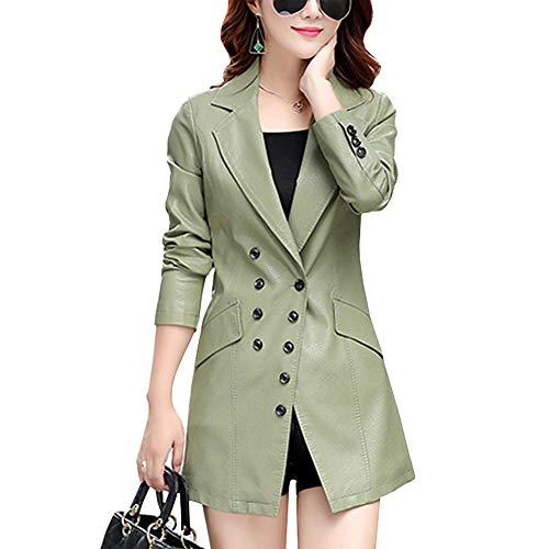 DISSA P7058 - Abrigo de piel sintética para mujer Verde e invierno. 42