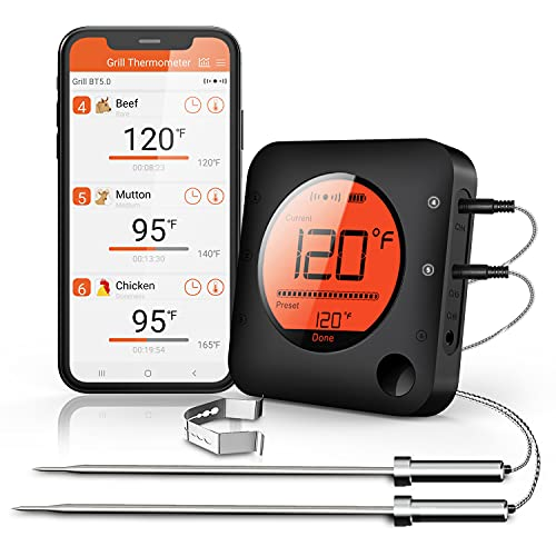 BFOUR Meat Thermometer, Wireless Bluetooth Digital Meat Thermometer with Dual Probe, Wireless Remote...
