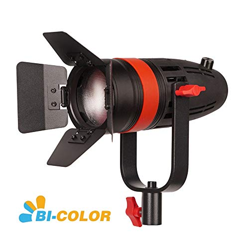 CAME-TV Boltzen F-55S COB Fresnel Focusable Led Video Light, High Output 55W Bi-Color 3200K-5600K CRI96+ TLCI97+Dimmable 0%-100% Dual Power Supply W/Filter Set,Removable Barn-Door,Carry Bag