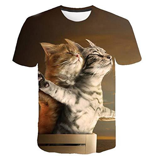 DüNnes KurzäRmeliges T-Shirt Mit Rundem 3D-Tiermotiv Und Rundem Tiermotiv FüR Herren Im Sommer