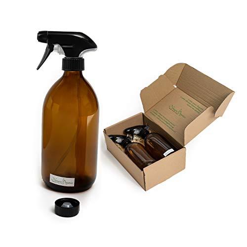 Nomara Organics Made with Love Bernstein Glas Sprühflaschen 2 x 500 ml Dose auf Strohhalm, 2 Kappen, wiederverwendbar. Als Geschenk/Kosmetik/Organischer/Reinigung/Pflanzennebel