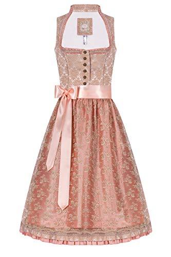 Moser Midi Dirndl 65er Nude apricot Josefine 005683, mit romantischem Rosenmuster, Elegante Rüschendetails an Ausschnitt, zweilagige Schürze aus TAFT und Blumenspitze 36