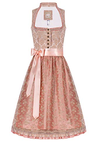 Moser Midi Dirndl 65er Nude apricot Josefine 005683, mit romantischem Rosenmuster, Elegante Rüschendetails an Ausschnitt, zweilagige Schürze aus TAFT und Blumenspitze 30